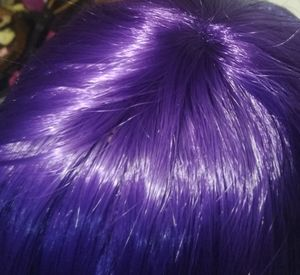 Purple wig! with long bangs, Curly Hair…